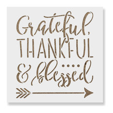 """Grateful Thankful Blessed Stencil for DIY Projects, 35""""x35"""""""
