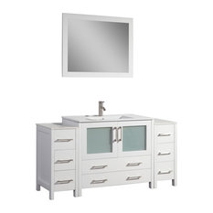 "60"" Single Sink Vanity Set With Ceramic Top, White, Standard Mirror"