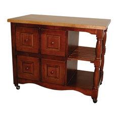 Sunset Trading 4 Drawer Kitchen Cart Nutmeg