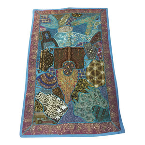 Mogulinterior - Indian Tapestry Blue Sequin Patchwork Table Runner Bohemian Wall  Decor - Tapestries