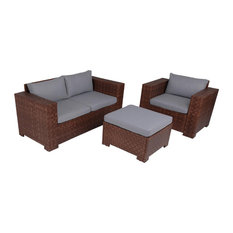 Outdoor 3-Piece Seating Set, Brown Wicker and Stone