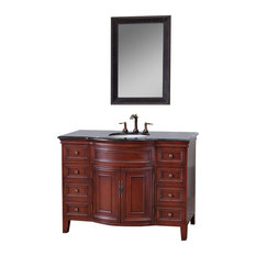 "Bellaterra 48"" Single Sink Vanity, Light Walnut Finish, Black Granite Countertop"