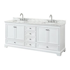 "Deborah 80"" Double Bathroom Vanity, White, Carrara Top, Square Sinks"