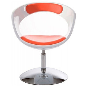 Brooklyn Padded Designer Armchair, White and Red