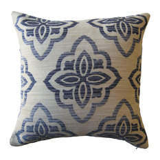 Chenille Texture Medallion Pillow, Blue/Ivory, With Insert