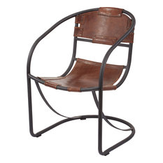 Retro Round Back Leather Lounger 161-001