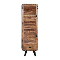 Retro Style Industrial Solid Wood Tall Narrow Armoire With Drawer