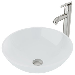 VIGO White Frost Vessel Sink and Faucet Set, Brushed Nickel