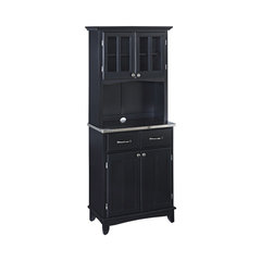Troy Buffet Hutch, Black And Stainless Steel