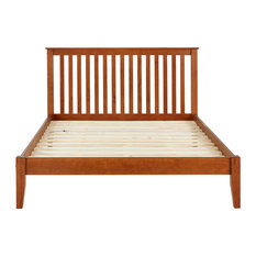 Mission Style Platform Bed, Cherry, Queen