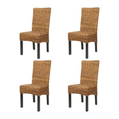 vidaXL Abaca Dining Chairs, Brown, Set of 4