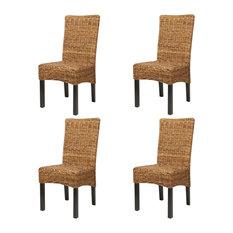 vidaXL Abaca Dining Chairs, Brown, Set of 4