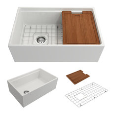 Contempo Farmhouse Kitchen Sink With Grid and Strainer, White, 30""