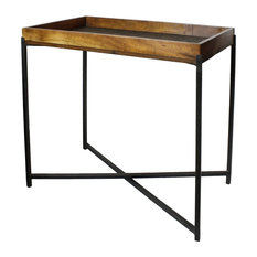 Rustic Collapsible Folding Iron Wood Tray Table, Minimalist Loft Bar Serving