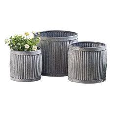 """Belly Bucket Planters, Set of 3, Galvanized Metal , 17 - 12"""" Diameter"""