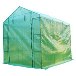 Outsunny - Outsunny 8'x6'x7' Portable Greenhouse With Shelves - Are you a home gardening enthusiast looking for a way to stay in the soil year-round? This Outsunny portable walk-in gardening greenhouse offers the vital protection your plants crave without the need to spend exorbitant amounts of money. The plastic mesh cloth cover keeps your crops at the perfect temperature and is reinforced by a sturdy powder coated steel tube frame. The tent-like structure allows you to place the greenhouse over an existing area or to start a gardening spot inside. The zippered door allows a seal to be maintained while also providing easy access to the inside. The perfect solution for the true gardener out there that wants to keep their plants healthy throughout the entire year.