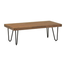 Coffee Table With Wooden Tabletop and Black Metal Legs, Contemporary Style