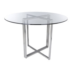 Euro Style - Legend Dining Table Base, Brushed Stainless Steel - Dining Tables