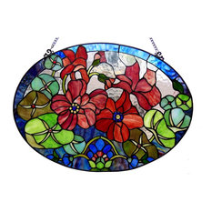 CHAMBER, Tiffany-glass Roses Window Panel, 24x18