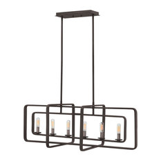 Hinkley Quentin Chandelier 6-Light Linear, Aged Zinc