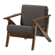 "Gray Fabric and ""Walnut"" Brown Wood Living Room 1-Seater Lounge Chair"