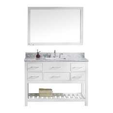 "Virtu Caroline Estate 48"" Single Bathroom Vanity, White With Faucet And Mirror"