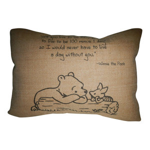 Pooh Quote Burlap Pillow, 12