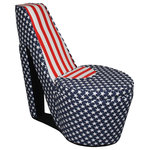 "Ore International, Inc. - Chair With Storage, High Heel Design, Patriotic Flag Design - Decorate your room with these American luminaries. Great for adding a special decorative flair to Fourth of July - Memorial Day - cocktail parties and special premier events. Let your patriotism shine through on Fourth of July or any other holiday with this high heel shoe ottoman with patriotic flag motif in true red, white and blue. This chair fits perfectly in any living room's style and decor. The framework of the chair is made of wood accompanied with linen polyester fabric on the outside for sturdiness and comfort. Features a hidden compartment to store books and magazines. The storage measures 13.5""Lx13""Wx14""H. The seat height measures 17 inches, and the seat dimensions measure 18""W x 18""D. The weight capacity for the chair is 300 lbs."