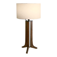 Forma LED Table Lamp, Oiled Walnut, Black Anodized Aluminum, Shade: White Linen