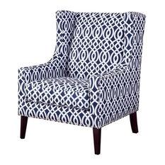 Madison Park Barton Wing Chair, Navy