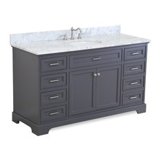 "Aria 60"" Bath Vanity, Single Vanity, Top: Carrara, Charcoal Gray"