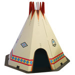 FunDeco - Teepee Playhouse - Corrugated play structure printed in full color art.  Assembles in minutes without tools.