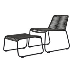 2-Piece Barclay Stacking Lounge Chair and Ottoman Set, Dark Gray Cord