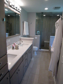 In This Bathroom We Used A Grey Tile For The Floor Cabinets Are Not Exactly Brown But Picture Might Spark Some Inspiration