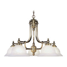 North Port 5-Light Chandelier, Antique Brass, White Alabaster Glass
