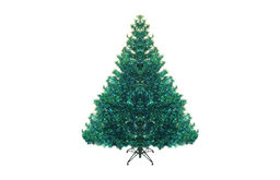 7.5' Pre-Lit Shimmering Peacock Color Theme Tinsel Christmas Tree, Blue Green