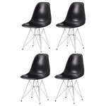 BTExpert - Irene Dining Side Chairs, Set of 4, Black - A stylish touch of midcentury flair comes easily with the Irene dining chairs. These seats feature familiar chrome Eiffel-style bases and plastic molded seats that instantly elevate your kitchen design.