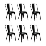 Industrial Style Metal Café Chair, Black, Set of 6