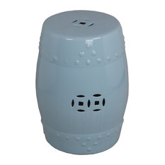 "Privilege Soft Blue Ceramic Garden Stool, 13""x13""x18"""