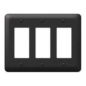 Devon Steel 3-Rocker Wall Plate, Black