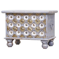 Osage Grey Distressed Reclaimed Wood Brass Accent Storage Trunk