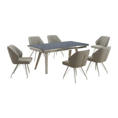 Regina Dark Grey Extendable Table With 6 Bronx Chairs, Wolf Grey