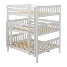 Leta White Queen Triple Bunk Bed, With Twin Xl Storage Trundle