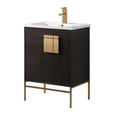 "Shawbridge 24"" Bathroom Vanity, Black, Satin Brass Hardware"