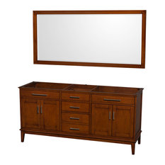 "72"" Double Bathroom Vanity in Light Chestnut, No Countertop, 70 in. Mirror"