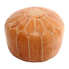 Moroccan Leather Pouf, Tan