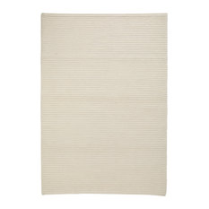 Hand Knotted White Wool Area Rug