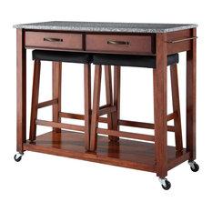 Solid Granite Top Kitchen Cart/Island Classic Cherry Finish W/ Saddle Stools