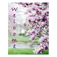 Double Sided Garden Flag, Pink Dogwood Tree Welcome