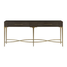 """Soliloquy Antiqued Brass Leg 2 Drawer Hall Console Table 80"""""""